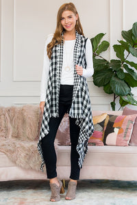 BLACK / IVORY BUFFALO PLAID VEST