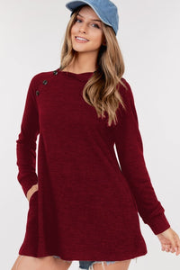 BURGUNDY BUTTON TUNIC