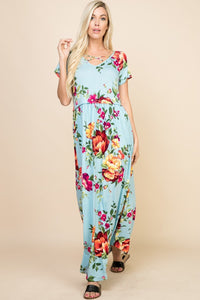 LIGHT BLUE FLORAL MAXI DRESS