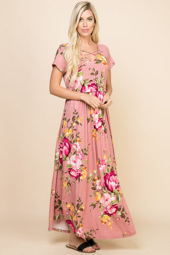DUSTY ROSE FLORAL MAXI DRESS