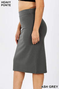 PONTE HEAVY KNIT PENCIL SKIRTS - MULTIPLE COLORS