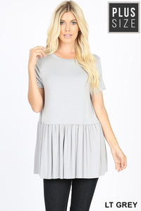 LIGHT GREY PEPLUM TOP - PLUS