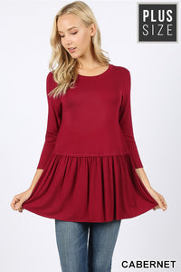 CABERNET PEPLUM TOP - PLUS