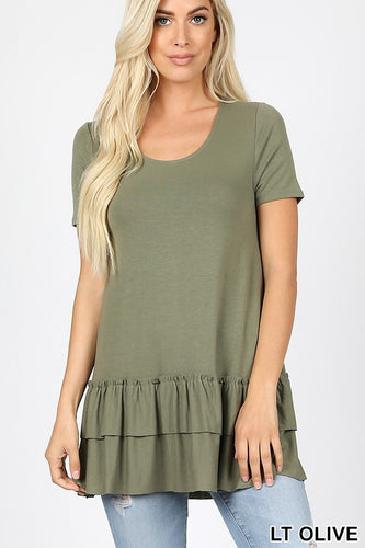 LIGHT OLIVE RUFFLE TRIM TOP - PLUS
