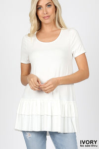 RUFFLE TRIM TOPS - MULTIPLE COLORS
