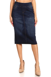 DARK INDIGO WASH STRETCH DENIM SKIRT / RAW HEM