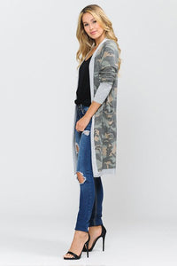 ARMY PRINT LONG CARDIGAN