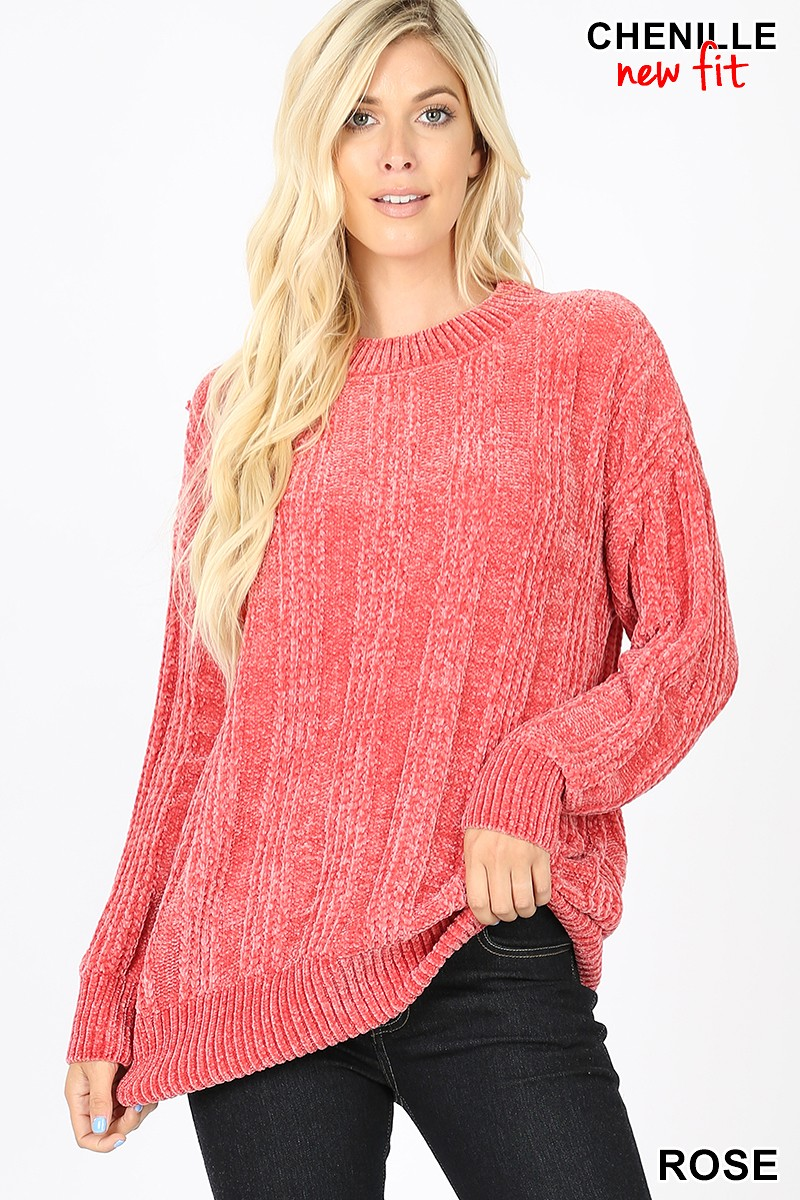 CHENILLE SWEATER - ROSE