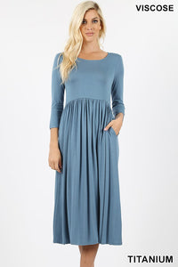 QUARTER SLEEVE EMPIRE DRESS - TITANIUM