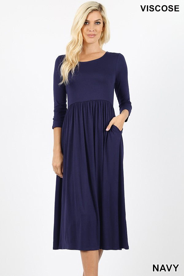NAVY EMPIRE DRESS