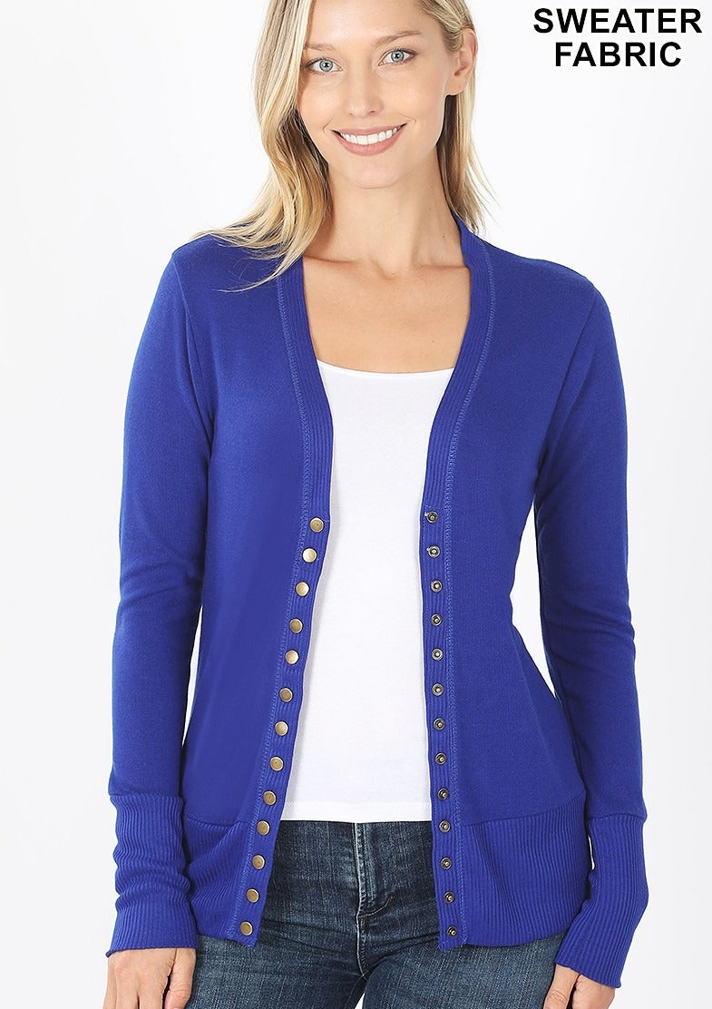 SNAP BUTTON CARDIGAN - ROYAL BLUE - REG & PLUS