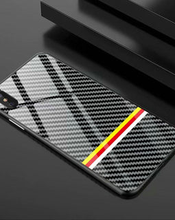 iPhone Carbon Case - Yellow/ Red Stripes - Mister LUX