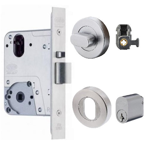 LOCKWOOD 3772 MORTICE LOCK TURNSNIB KIT (INC. CYLINDER, TURNSNIB, ESCUTCHEON & ADAPTOR)
