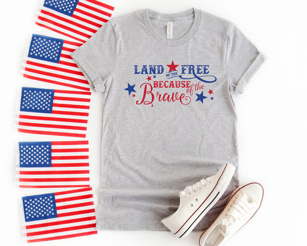 Land of the Free Tee- Athletic Heather Grey