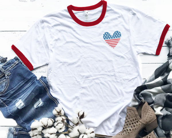 Pocket Love America Red Ringer Tee