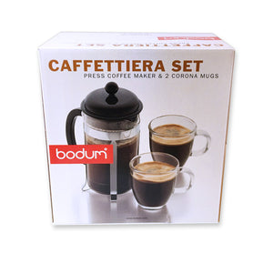 BODUM ~ Caffettiera Set Press Coffee Maker & 2 Corona Mugs