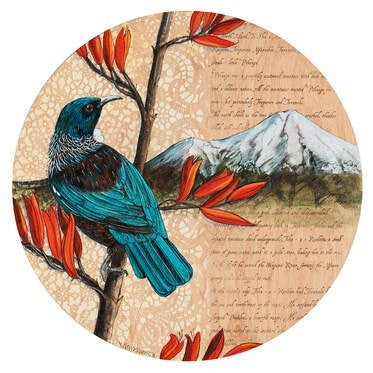Round Ply Bird Wall Art - Taranaki Tui