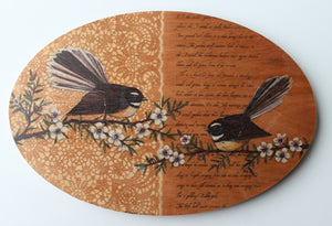 Oval Bird Ply Wood Wall Art - Fantail