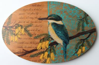 Oval Bird Ply Wood Wall Art - Kingfisher
