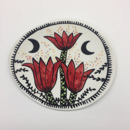 Red Blooms Munchie Plate