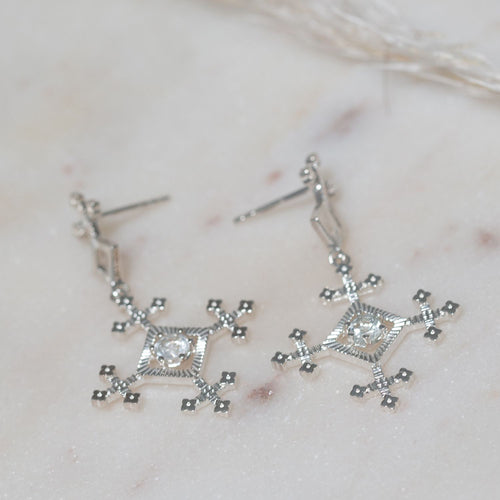 Sura Earrings w/ White Zircon