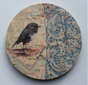 Round Ply Bird Wall Art - Wanaka Robin