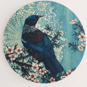 Round Ply Bird Wall Art - Blue Tui Facing Right