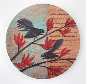 Round Ply Bird Wall Art  - Fantail