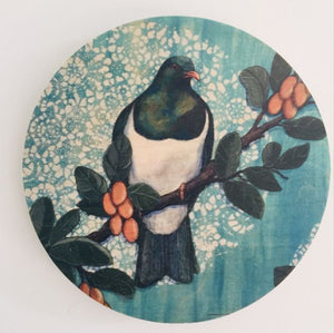 Round Ply Bird Wall Art - Blue Kereru