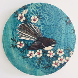 Round Ply Bird Art - Blue Piwakawaka