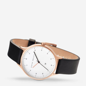 Inertia Watch - Brushed Copper/ White Face / Black Strap