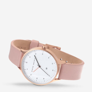 Inertia Watch - Brushed Copper White Face Blush Strap