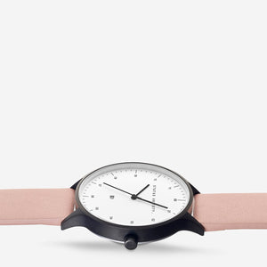 Inertia Watch - Matte Black /White Face /Blush Strap