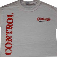 Control - White T-shirt - Red printed Vertical Logo