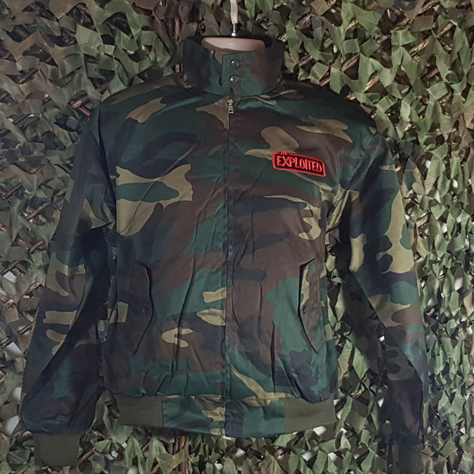 The Exploited - Camouflage Harrington Jacket with Front Embroidery Only