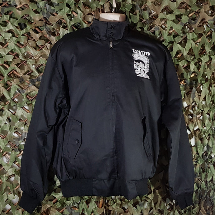 The Exploited - Black Harrington Jacket with Skull Logo Embroidery, Front & Back