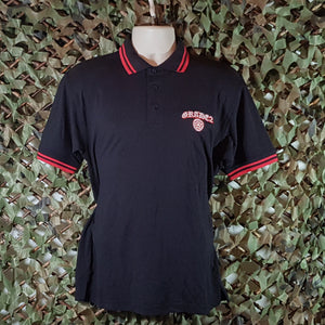 Grade2 - Black Polo Shirt with red trim and embroidered logo