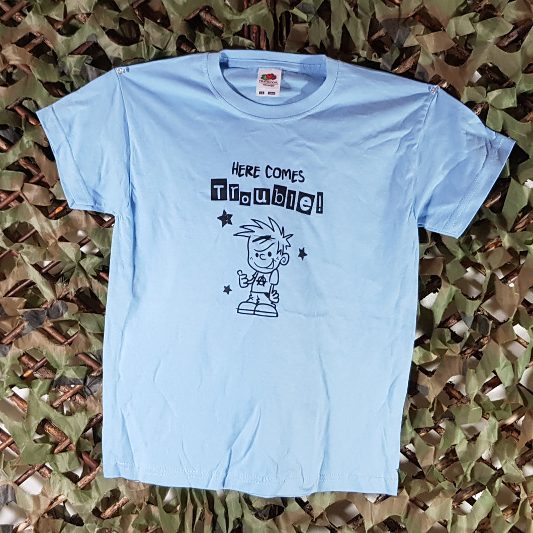Here Comes Trouble - Kids Blue Tee