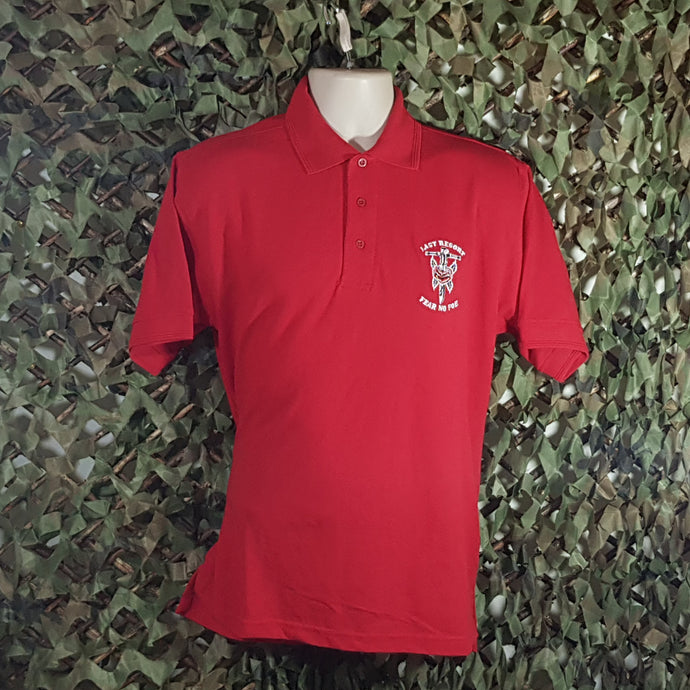 Last Resort - Men's Red Polo Shirt w/ Embroidery