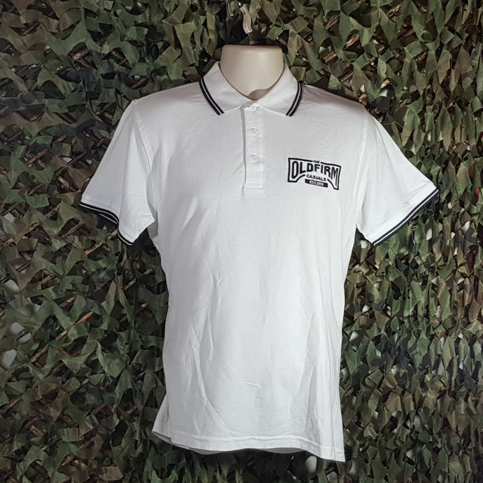 The Old Firm Casuals - Men's White Polo with Navy Trim & Embroidery