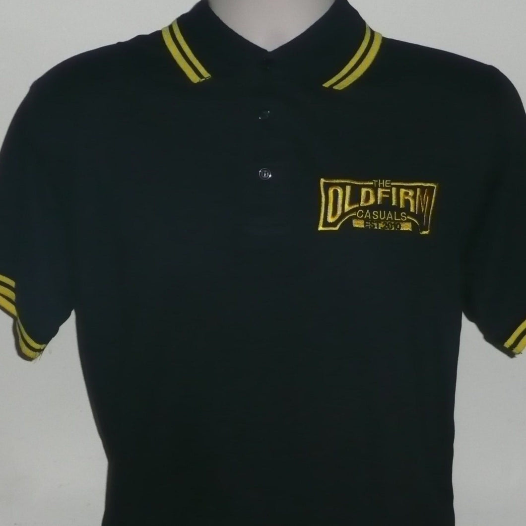 The Old Firm Casuals - Men's Black Polo with Yellow Trim