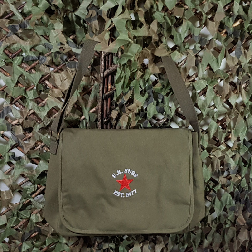 UK Subs - New Red Star Design - Military Green - Canvas Messenger Bag