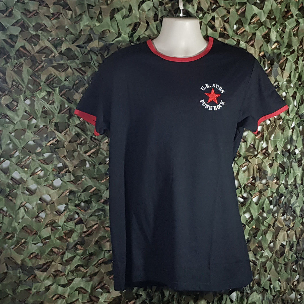 UK Subs - Red Star - Ringer Tee with Embroidered Logo