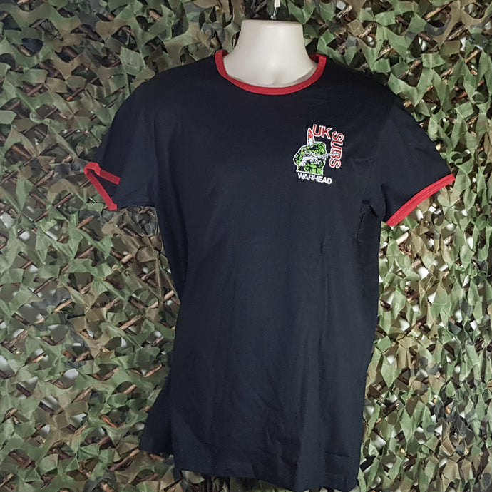 UK Subs - Warhead - Black Ringer Tee with Red Trim