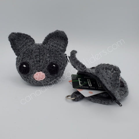 Sugar Glider Knit Coin Purse Card Purse Keychain