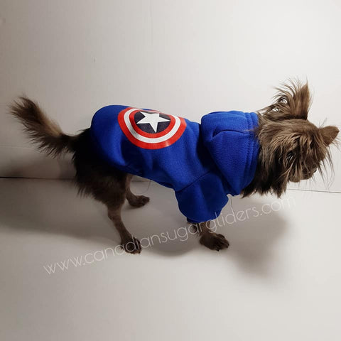 Dog Clothes Decal Blue Captain America Hoodie Sweater - Canadian Sugar Gliders