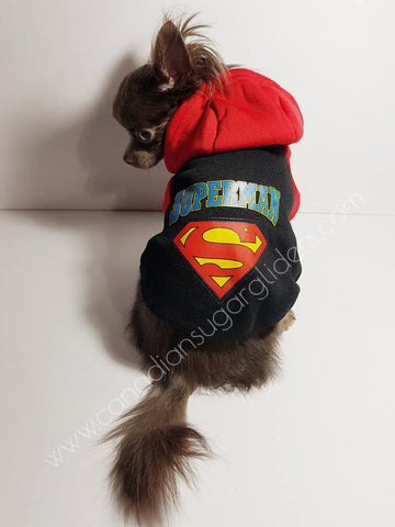 Dog Clothes Decal Black Red Superman Hoodie Sweater - Canadian Sugar Gliders