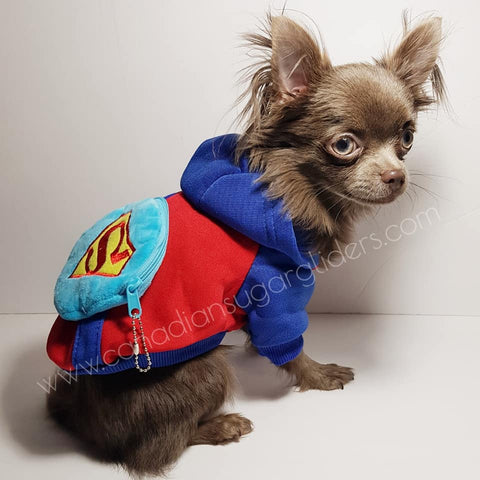 Dog Clothes BackPack Blue Superman - Canadian Sugar Gliders