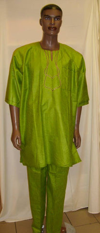 Lime Green Men's Brocade Outfit