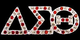 Delta Sigma Theta Sorority Swarovski Crystal Pin in Silver w/ Red Dots